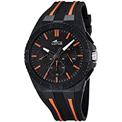 Lotus Men's Quartz Watch with Black Dial Chronograph Display and Black Rubber Strap 18185/2