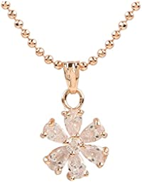 Ananth Jewels Heart Shaped Rose Gold Plated Pendant Necklace For Women - B073T4L2ZD