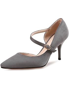 SDKIR-L' AMMENDA con sandali, femmina estate a punti fare clic su scarpe, lato nero satinato vuoto scarpe, piccola...