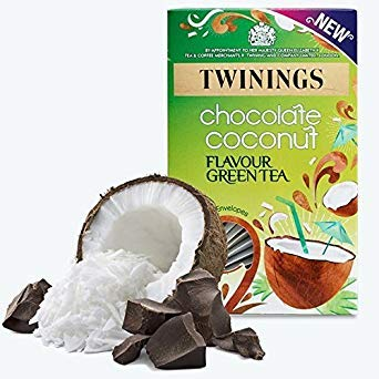 Twinings Tropical Coconut Chocolate Indulgence Green Tea. 1 Boxes 20 Enveloped Teabags.Taster Pack