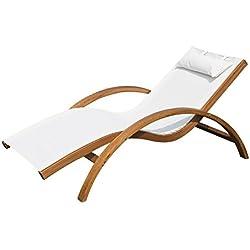 Tumbona tipo Hamaca para Jardín Terraza Playa Piscina o Patio 165x72x70cm Color Blanco hecha de Madera Malla y Textilene con Almohadilla