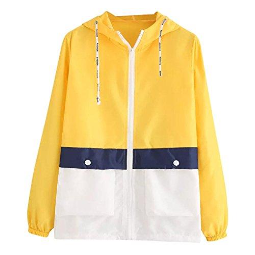 MIRRAY Damen Langarm Patchwork Skinsuits mit Kapuze Reißverschluss Taschen Mantel