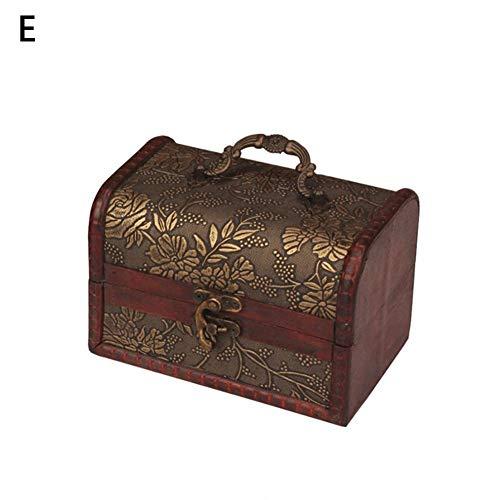 Retro antike Blume geschnitzt aus Holz Schmuck Aufbewahrungsbox, dekorative Schmuck Display Veranstalter Container Fall mit Schloss -