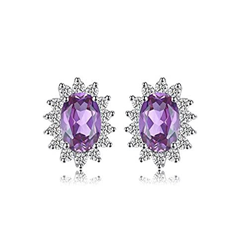 JewelryPalace Princess Diana William Kate Middleton's 1.1ct Natural Amethyst Halo Stud Earrings 925 Sterling