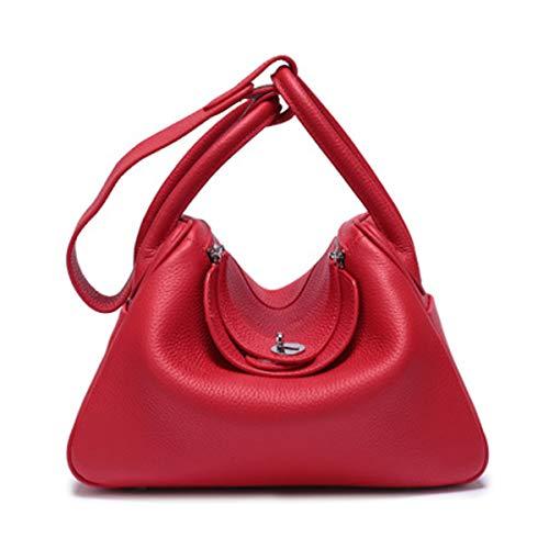 Lederhandtaschen Mode Litschi weiche Tasche Umhängetasche große Kapazität Arzt Tasche Medizin Tasche (Rot, 28 * 17 * 21 cm) - Große Arzt-tasche