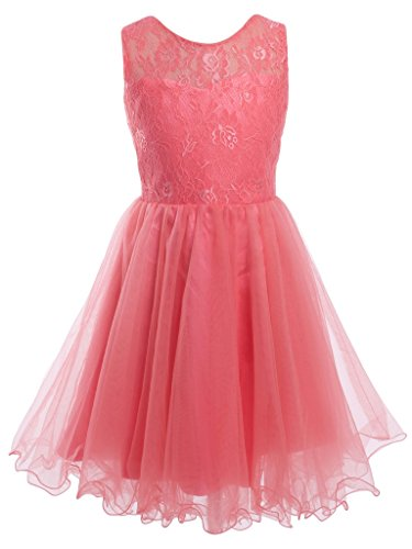FAIRY COUPLE Mädchen Lace besticktes Mieder Blumenmädchen Partykleid K0191 12 Korallen (Kinder Kleider Für Fairy)