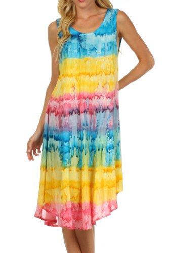 Sakkas 605 Wüstensonne Kaftan Kleid oder Vertuschung für Damen- Türkis/Gelb One Size -