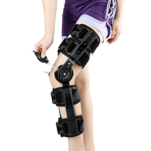 Roboraty Verstellbare Knieorthese, KniestüTze KnieschüTzer Kniebandage, für ACL, PCL, Sehnen, Bänder und Meniskusverletzungen, Orthopädische Knieorthese mit Scharnier für Männer Frauen,Black