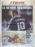 EQUIPE (L') [No 16261] du 19/08/1988 - CHRISTINE ARRON PLEINE PISTE - FOOT - LE RETOUR DES HEROS CHAMPIONS DU MONDE - ZINEDINE ZIDANE