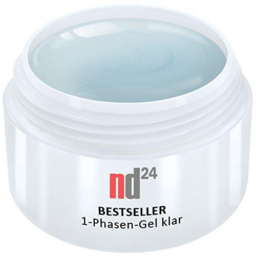 15ml - nd24 BESTSELLER - 1-PHASEN-GEL klar mittelviskos - 3in1 easy Allround UV Nagelgel - Made in Germany - säurearm selbstglättend glänzend mit Haftvermittler