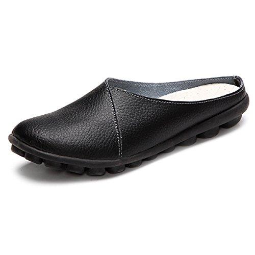 Gracosy Unisex Hausschuhe, Herren Damen Pantoffeln Leder Slipper Sandale Sommerschuhe Slip-On Bequem für Sommer Soft-Fußbett Clogs Schwarz 38 (Schuh Damen Slip-on Leder)