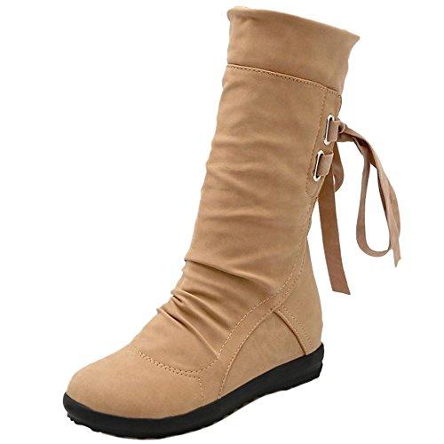 Indietro Giallo Indossando Tallone Donne Compensa Mezze Razamaza Stivali Lacci Stivali Slouch vRqw80t