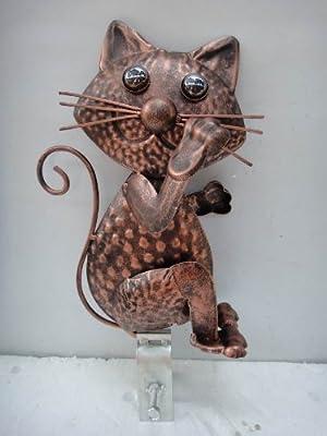 Filou, die Katze im Kupfer Look, Dachrinnen Deko f. Zaun, Geländer, Dachrinne von Westerholdt GmbH auf Du und dein Garten