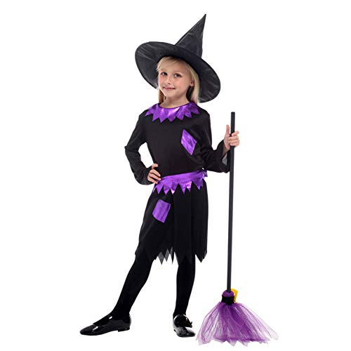 Mädchen Westens Kostüm Böse Des Hexe - Hexenkostüm Lila Schwarz Hübsches Hexenmädchen Forum Neuheit Klassiker Kinder Halloween,M