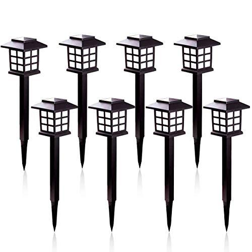 Lampes Solaires de Jardin - Éclairage Solaire Lumière Blanche Chaude et Solaire Étanche IP55 Pour extérieur Villa pelouse Jardin, Paysage, Allée, Cour, Patio (Lot de 8)
