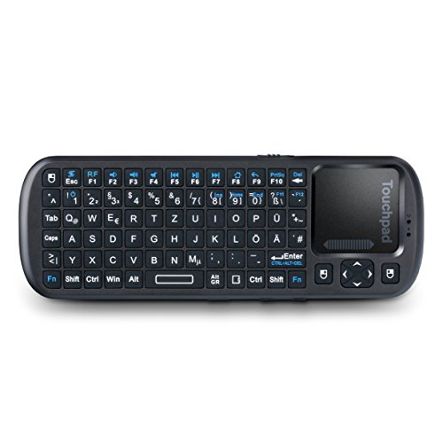 CSL - Mini Wireless 2,4GHz Keyboard inkl. Touchpad Maus | Multifunktionsboard/Fernbedienung | QWERTZ deutsches Layout | On/Off-Schalter | multitouchfähig -