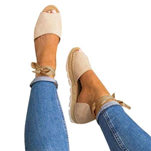 Sandali _ feixiang confortevoli estate donne pizzo tacco piatto espadrillas sandali - sandali ciabatte elegante da donna bocca di pesce sexy da donna scarpe da spiaggia (beige, eu:38)