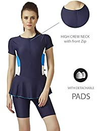 Champ Nylon Spandex - Women Swim Wear - Frock [Half Sleeves- Half Length] | Contrast 3 Patches on Both Side & Front Zip (High Neck) - 0N