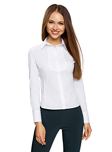oodji Collection Damen Baumwoll-Bluse mit Einsatz auf der Brust, Weiß, DE 40 / EU 42 / L