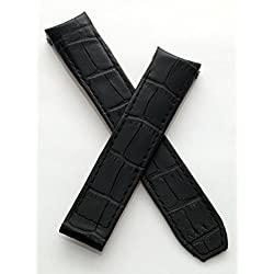 "WATCH STRAP WORLD 20 mm black leather crocodile-effect deployment type strap to fit Baume & Mercier Capeland ""S"" models"