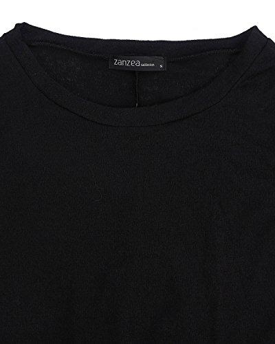 ZANZEA Femme Plain Manches Longues Tunique Pull-over Jumper Blouse Asymmetric Longue Robe Noir 2
