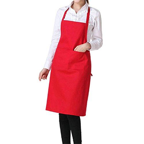 Toruiwa Tablier de Cuisine avec Deux Poches pour Serveur à Café, Cuisine, Restaurant 72 * 58cm (Rouge)