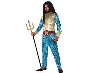 Atosa-61528 Atosa-61528-Disfraz Heroe Comic Metalizado-Adulto Hombre, Color azul, M a L (61528