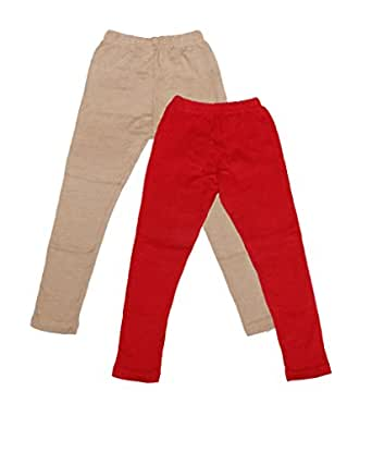 Indistar Girls Combo Pack(Pack of 2 Full Ankle Length Wollen Warm Leggings and 2 3/4 Leggings /Capri)_Beige::Red::Pink::Green::Green_6-7 Year
