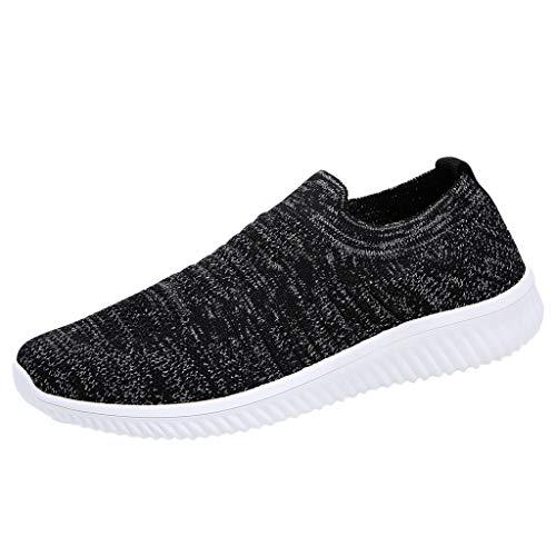 feiXIANG Laufschuhe für Damen Freizeit bequem Sneakers Schuhe Slip-on Straßenlaufschuhe(Schwarz,40) -