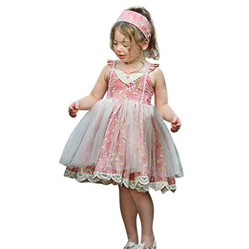 VJGOAL Mädchen Kleider, Kind Baby Süß Prinzessin Rock Blume Drucken Nähen Mesh Fliegender Ärmel Kleiden Dresses for ()