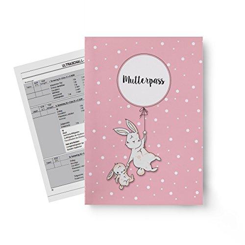 Miolina Mutterpass Hülle Hase | passend für Deutschland | pink | inkl. drittem INNENFACH für Gesundheitskarte | Schwangerschafts Geschenkidee | Personalisierung möglich