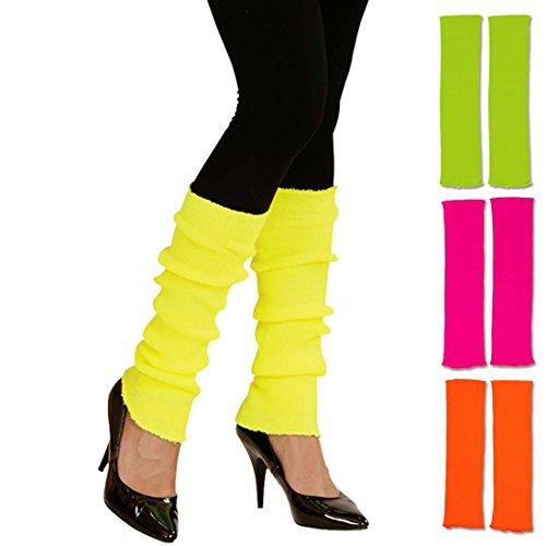 Aerobic Outfit Jahre 80er (Beinstulpen neonfarben leuchtende Stulpen 80er gelb krelle Legwarmer schrille Aerobic Stutzen Fitness Outfit Accessoire 80er-Outfit)