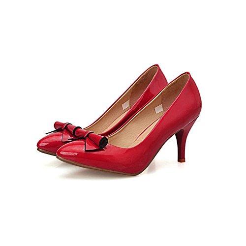 Adee Mesdames fleur nœuds brevet Chaussures Pompes en cuir Rouge - rouge
