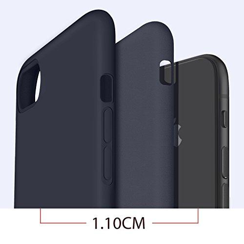 Coque iphone 8, Coque iphone 7, Humixx Soft Liquid Silicone avec Intérieur Micro Fibre Étui Housse, élégant Anti-Choc Protection de Téléphone Case Cover pour Apple iPhone 8/7 Bleu foncé