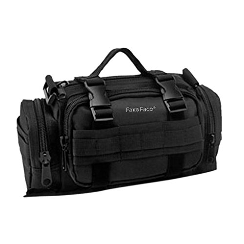 FakeFace 600D Polyester Lenkertasche Fahrradtasche zur Befestigung am Lenker auch als Schultertasche Umhängetasche für Radfahren Reise Camping 32 x 11 x 17 CM (Silbergrau) Schwarz