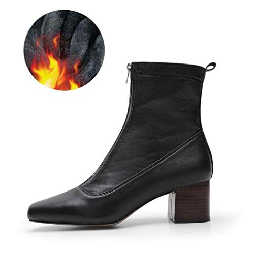 (MISS&YG Women Es Square Head Elastic Booties Women Es Comfortable Mid-Front Zipper Joker Sewing Women ' S Boots,Blackplusvelvet,34)