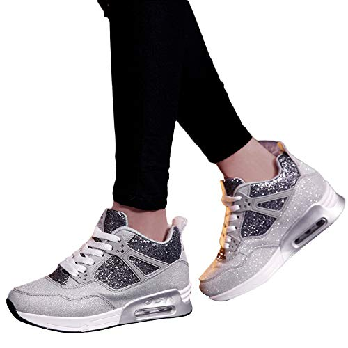 OSYARD Damen Sneaker Sportschuhe Glitzer,Atmungsaktiv Rutschfeste Sportlich Schuhe, Mode Frauen Freizeitschuhe Flache Outdoorschuhe Fitnessschuhe Student Schnürer Laufschuh(230/37, Grau)
