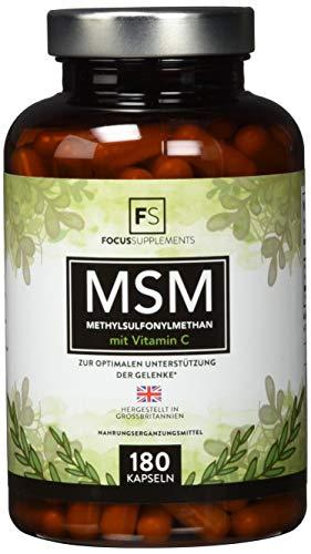 MSM Kapseln 1200 mg (180 vegane Kapseln), Methylsulfonylmethan-Pulver mit Vitamin C   Organischer Schwefel für Detox   Hochdosierte Gelenkkapseln – Aus ISO-zertifizierten Betrieben (1 Flasche)