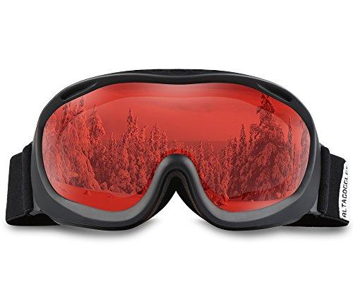 ALKAI Ski Sonnenbrille Schwarzer Rahmen Rote Linse