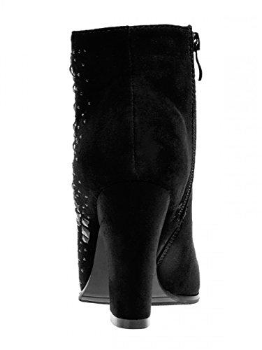 CASPAR SBO071 Élégantes bottines en imitation daim 2 hauteurs de talon Talon 8 cm
