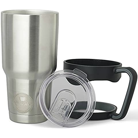 LIMITED OFFER 30oz Insulated Tumbler with Splash Proof Lid and Ergonomic Handle - Double Wall and Heavy Duty Stainless Steel Construction - BPA Free - Order now and get FREE EBOOK by Coffesto®