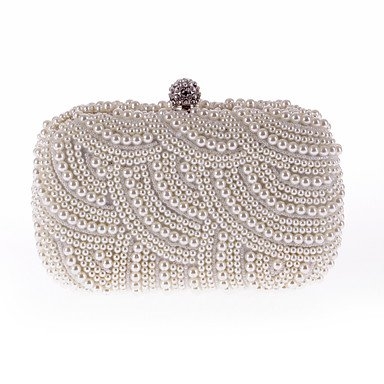 Woman Fashion Imitation Pearl Diamdons Abend Tasche White