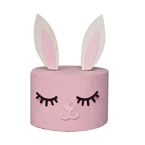 Coniglietto orecchie cake topper set con orecchie da coniglio ciglia e nose for girls kids birthday pasqua decorazione torta