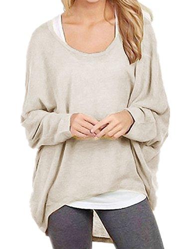 Yidarton Frauen Sexy Asymmetrisch Langarm Pullover Pulli Strickjacke Oversized Baggy Lose Jumper T- shirt Tops Bluse (Beige,XL)