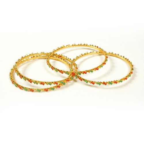 Wedding n Marriage n Shaadi n Engagement n Traditional n New year 2015 n Christmas XMAS Gift New year 2015 n Christmas XMAS n Valentine day's Gift-Dussehra n Diwali festival Gift- Jewbang gifting Style Gold plated fashion green red colour faux emerald coral stone bangles 24 size set for girls and women