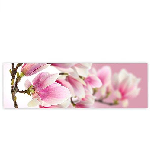 Leinwandbild 145x45 cm - Top - Wandbild XXL Kunstdruck Leinwand Bild Wanddeko Canvas - PINK MAGNOLIA - Magnolie Blumenranke Pflanzen Natur Orchidee Blume rosa - no. 014, Qualität Leinwand:Premium Plus