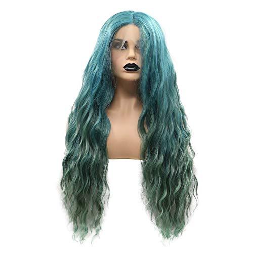 Drag Queen Ombre Peluca de sirena verde suelta de encaje sintético largo frontal pelucas para mujeres...