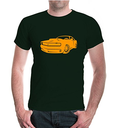 buXsbaum® T-Shirt American Sports Car Bottlegreen-Neonorange