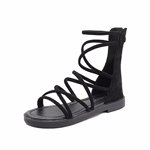 XIAOGEGE Sommer stricken nähen Damen Sandalen retro's flat Frauen Schuhe atmungsaktiv P2rrtvKgc
