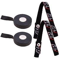 Injoyo Cinta De Palo De Hockey De Tela Negra De 2 Rollos Y Correa De Barbilla De Repuesto para Casco 2